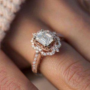 NWOT 18K GF Rose Gold White Sapphire Ring